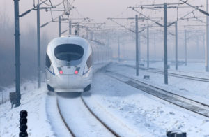 front view of Beijing-Harbin high speed rail train in snow