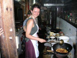 UK woman cooking Sichuan food