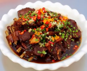top view of mutton dish from chinese cuisine