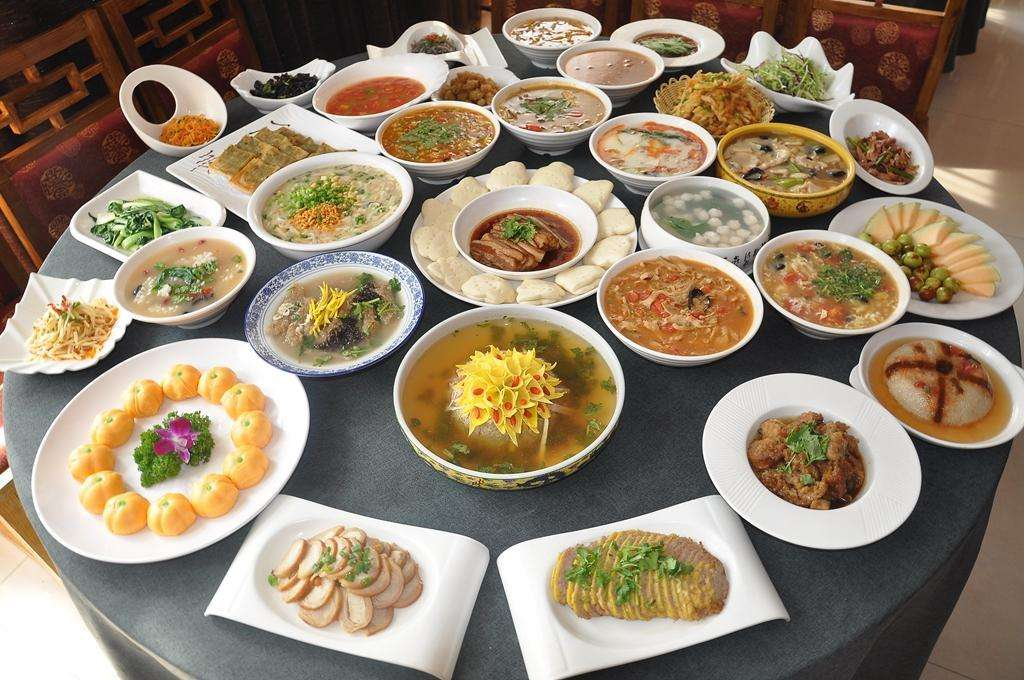 dishes on table and luoyang water banquet in china