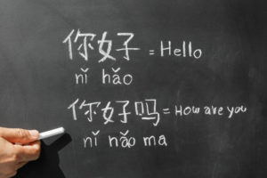 chinese phrases written on blackboard