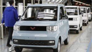front view of chinese electric cars on the production line