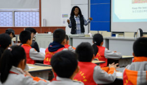 foreign student teaching at primary school in china