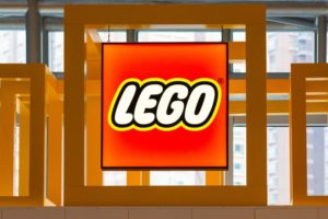 front view of lego logo in picture frame