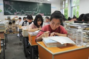 students studying in classroom in china