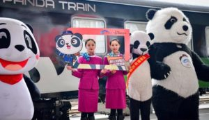 event celebrating launch of panda train in china