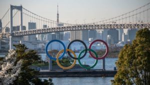 olympic symbol on boat in tokyo