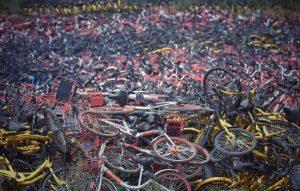 shared bike graveyard in china