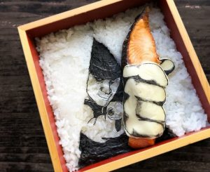 top view of artistic breakfast made by woman in japan