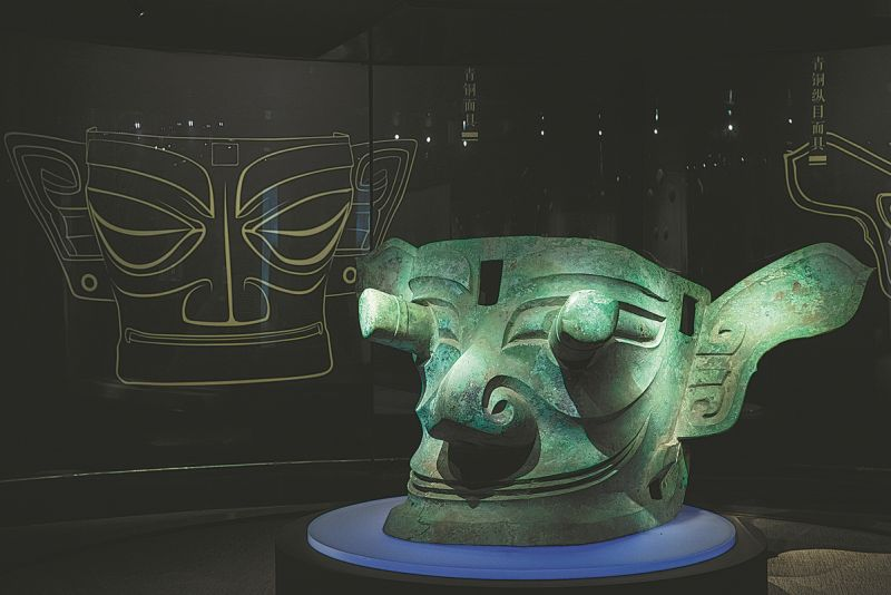 bronze mask discovered at sanxingdui site on display at museum in china