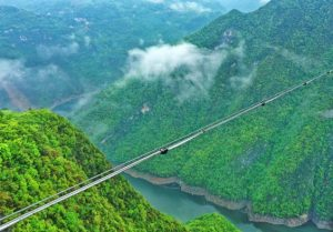 mid-air water pipe in chinese mountains