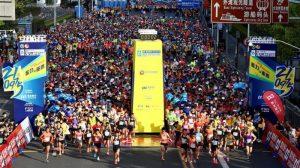 front view of runners at 2021 shanghai half-marathon