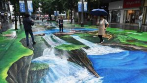 people walking on 3D painted pavement in china