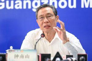 zhong nanshan behind microphone giving speech
