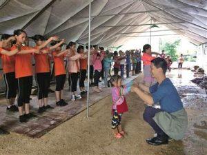 children learning ballet in rural china