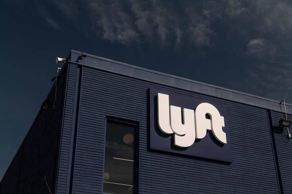 lyft logo on side of black building