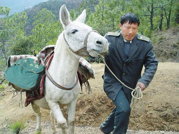 postman leading horse in china