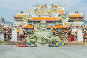 guan yu statue outside temple in china