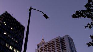 dark street lamp at dusk