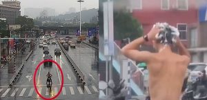 two images showing motorcycle rider washing hair in rain at traffic lights in china