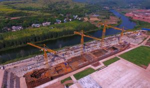 aerial view of rusty titanic replica under construction in china