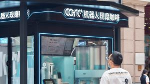 customer standing outside barista-less coffee shop in shanghai