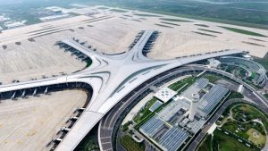 aerial view of new airport in qingdao, china