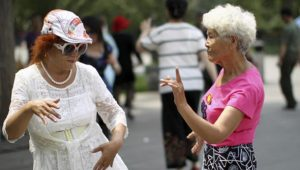 chinese dancing aunties is a very popular pasttime in China