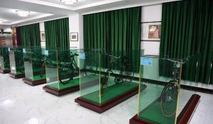 bicycles on display at museum in china