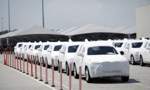 lines of cars waiting for export in china