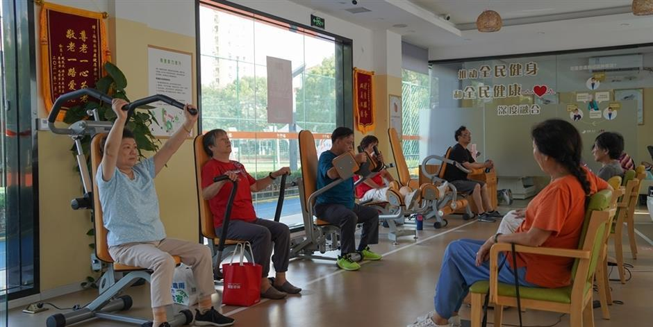 elderly people exercising at seniors gym in shanghai