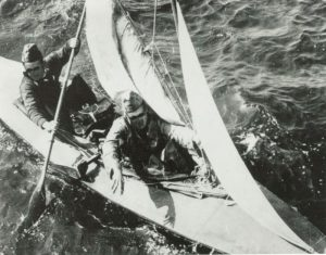 black and white photo showing The Engelandvaarders in kayak